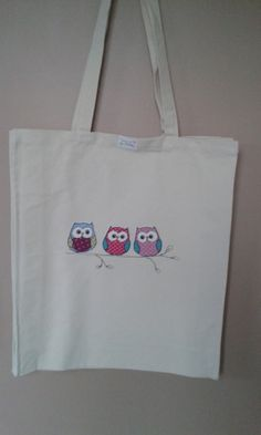 Canvas Tote Shopping Bag/Book Bag/Applique Bag/Owl Bag by StitchnDoodle on Etsy