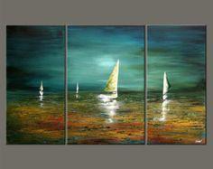 Voilier peinture abstrait paysage marin Original peinture acrylique Teal, Turquoise, vert par Osnat - sur commande - 60 « x 36 »