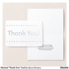 """Shop Minimal """"Thank You!"""" Card created by AponxDesigns. Thank You Greeting Cards, Thank You Greetings, Appreciation Cards, Personalized Note Cards, Paper Envelopes, Colored Paper, Star Shape, Minimalism, Cards Against Humanity"""