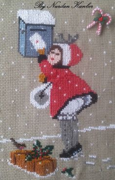 """""""Letter to Santa"""" designed and stitched by N.Kanber"""