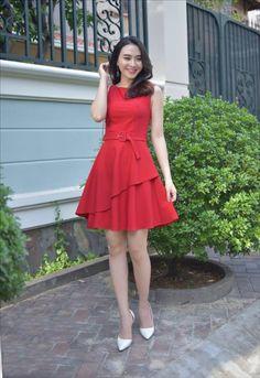 damvayxinh.net - Đầm xòe 2 lớp kèm belt màu đỏ dễ thương