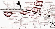 draw eames furniture | Exploded view drawing by Eames Office employee Charles Kratka, with ...