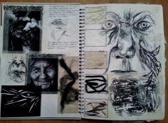 Art Sketchbook - mark making & texture exploration; art & design portfolio // Hannah Culley