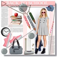 BACK TO SCHOOL by chinnok-design on Polyvore featuring Essie, Kate Spade, Swingline, Forever 21, Vans, school and kids