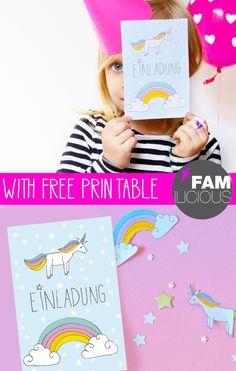 Einhorn-Einladung selber basteln: für den Kindergeburtstag oder die Einhorn Party - einfach unser Free Printable ausdrucken und als DIY mit den Kindern selber machen - hier der kostenlose Download FAMILICIOUS.de Cute Birthday Invition Unicorn-Rainbow for free!