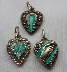 3 Fine Antique Sterling Silver Floral Puffed Heart Charms Green Enamel | eBay