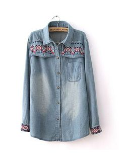 Ethnic Embroidery Faded Distressed Denim Blouse