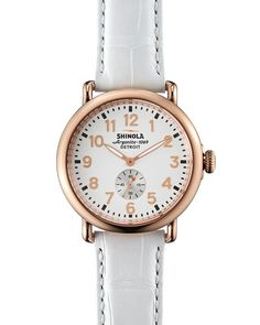 Runwell Rose Golden Watch with Alligator Strap, 41mm, Women's, WHITE - Shinola