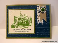 A John Deere tractor card using the Harvest Blessings stamp set from Stampin' Up!  Check out the details on my blog: http://stampinessentials.blogspot.com/2013/05/thankful-thursday-blue-ribbon-john.html