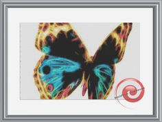 Butterfly Fractal Cross Stitch Printable Needlework Pattern - DIY Crossstitch Chart, Relaxing Hobby, Instant Download PDF Design