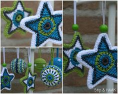Beautiful stars and balls for in the christmas tree. Pattern of ATERG crochet. Stip & HAAK