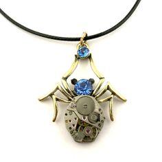 Watch Parts Spider pendant   blue rhinestone flower   by SteamSect, $32.00