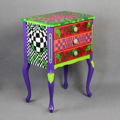 Chest of drawers: Ultraviolet by ArtPoPo on Etsy Whimsical Painted Furniture, Painted Chairs, Hand Painted Furniture, Upholstered Furniture, Repurposed Furniture, Diy Furniture, Furniture Design, Painting Furniture, Mackenzie Childs Furniture