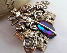 Blue Charme De Libellule dragonfly necklace, vintage style, brass necklace, pendant necklace, statement necklace, fantasy dragonfly jewelry