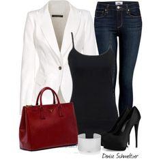 "Ca c'est mon style! :P ""White Jacket"" Mode Outfits, Casual Outfits, Fashion Outfits, Womens Fashion, Casual Dressy, Classy Casual, Smart Casual, Fashion Ideas, Fashion Trends"