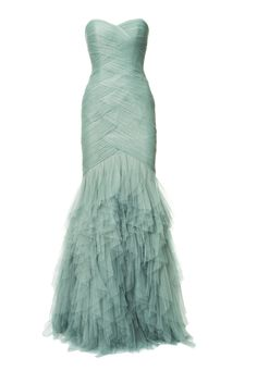 Fayette | Strapless Soft Tulle Mint Mermaid Glamour Dress with Ruffles | Amsterdam