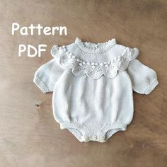Baby Knitting Patterns, Baby Patterns, Hand Knitting, Baby Girls, Baby Girl Romper, Baby Baby, Baby Romper Pattern Free, Pattern Baby, Crochet Pattern