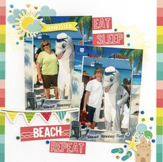Simple Stories/Hello Summer/GLue Dots/Colourful beach layout by Kim Gowdy Travel Scrapbook, Scrapbook Pages, Scrapbooking, Scrapbook Layouts, Photo Layers, Florida Resorts, Page Protectors, Impression Obsession, Disneyland California
