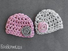 Two Baby Girl Hats Two Newborn Baby Girl Twin Crochet by EcoStreet