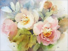 Peonies Flowers Original Watercolor Painting 9x12 inches