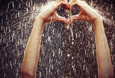heart hands rain