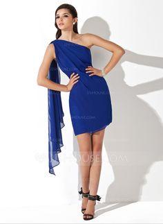 One-Shoulder Short/Mini Chiffon Dress With Ruffle