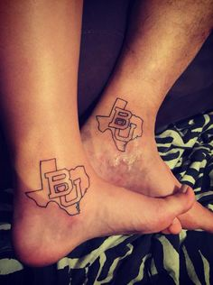 Matching Baylor BU texas outline tattoos. That's how you know it's love. #SicEm