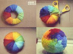Rainbow pompom