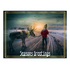 #winter reindeer and child christmas postcard - #Xmas #ChristmasEve Christmas Eve #Christmas #merry #xmas #family #kids #gifts #holidays #Santa