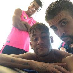 Neymar Jr. & Rafinha Alcantara & Gerard Piqué nach dem heutigen Training Photo posted by @neymarjr via instagram (14.09.2014)