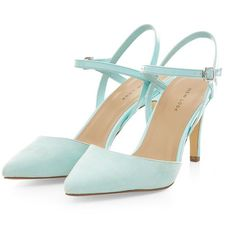 Mint Green Pointed Cross Ankle Strap Heels ($12) ❤ liked on Polyvore