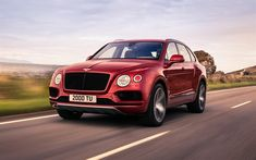 Download wallpapers Bentley Bentayga V8, 2018, twin-turbocharged, luxurious red SUV, burgundy Bentayga, Bentley
