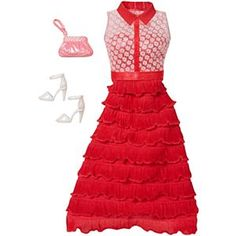 Discover the best selection of Barbie Fashion items at Mattel Shop. Shop for the latest Barbie doll clothes, dresses, outfits, shoes and more today! Barbie Sets, Barbie Dolls, Barbie Life, Barbie Website, Look Fashion, Fashion Outfits, Accessoires Barbie, Red Ruffle Dress, Barbie Playsets