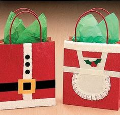 Claus gift bags, could use as full scrapbook page pctures around. Christmas Gift Bags, Noel Christmas, Christmas Gift Wrapping, Christmas Ideas, Paper Bag Crafts, Deco Table Noel, Gift Wraping, 242, Holiday Crafts