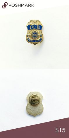 """I.C.E. Agent Pin I.C.E. Agent Pin  • true vintage • 1"""" x 3/4"""" • colors: gold tone metal with navy blue enamel  • tags: hat, lapel, vest, jacket, USA, United States of America, us department of homelands security, eagle, shield, established 2003, immigration and customs, law enforcement, military, service, veteran, uniform, secret service, top, DOJ, department of justice, government • all of the pins I sell are vintage and may contain minor nicks, imperfections, or oxidation Vintage…"""