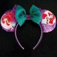 Little Mermaid print ears Handmade Little Mermaid Satin print ears with aqua/purple glitter bow and headband Accessories Hair Accessories