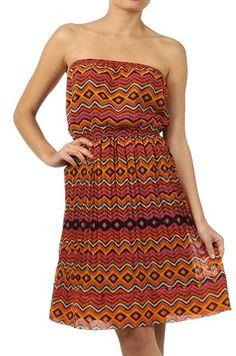 $66 Mystree Zigzag Strapless Dress