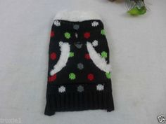 Dog or Cat Christmas Sweater Pocket Black Polka Dots White Furry Trim XXSmall