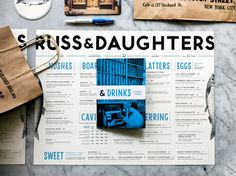 """escapekit: """" Russ & Daughters Designer Kelli Anderson recently completed the identity for, Russ and Daughters. Working alongside Jen Snow, the project encompassed everything from the identity to menus. Restaurant Branding, Restaurant Design, Restaurant Ideas, Editorial Layout, Editorial Design, Menu Design, Layout Design, Print Design, Thai Design"""