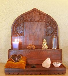 Wooden Altars from The Sacred Feminine - Pinned by The Mystic's Emporium on Etsy Meditations Altar, Pagan Altar, Wiccan, Witchcraft, Home Altar, Season Of The Witch, Sacred Feminine, Meditation Space, Spiritual Gifts