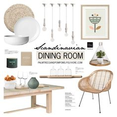 """Scandinavian Dining Room / Out There Interiors Rattan Scoop Armchair In Natural"" by palmtreesandpompoms ❤ liked on Polyvore featuring interior, interiors, interior design, home, home decor, interior decorating, Seletti, Dot & Bo, Sur La Table and LSA International"