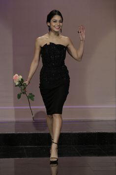 Vanessa Hudgens visited The Tonight Show With Jay Leno in this gorgeous Giorgio Armani dress.