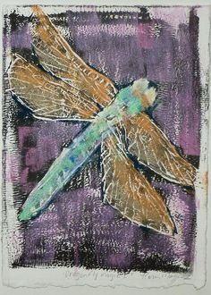 Dragonfly  5x7 Original Monotype with pastel by Karen Margulis