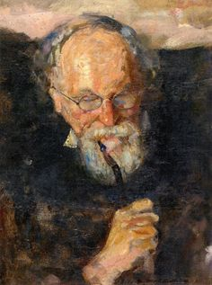 Edvard Munch - His Father Christian Munch with Pipe, 1885
