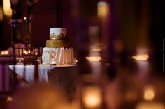 sophisticated, white and gold wedding cake
