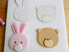 You need modelling paste to make these cute animal faces.   Mix 1 teaspoon of Gum powder or CMC with 300g of fondant(sugarpaste).     Gu...