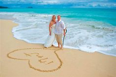 Initials....or Date or 'Just Married' in the sand for some photo inspirations