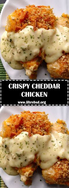 Ingredients Chicken: 4 large chicken breasts 2 sleeves Ritz crackers t salt t pepper C milk 3 C cheddar cheese, grated 1 t dri. Crispy Cheddar Chicken, Breaded Chicken Recipes, Stuffed Chicken Recipes, 3 Ingredient Chicken Recipes, Cheesy Chicken Recipes, Cheesy Baked Chicken, Cream Of Chicken Soup, Food Processor Recipes, Good Food