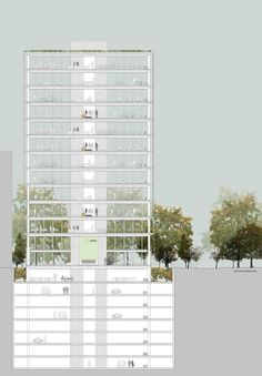 Design Competition 2014 for Office Building Fibra Paseo del Bosque. San Borja, Lima (Perú). allende arquitectos 2nd Prize