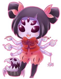 """"""":3"""" isamue.paigeeworld.com #muffet #chibi #cute #undertale #aw #spider #cupcake #fanart ~Greyfail"""